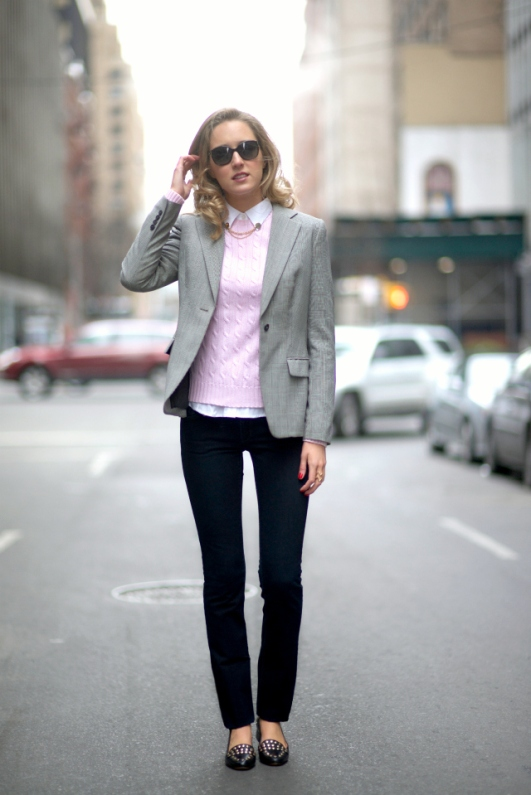 b dvf studded black gold loafer citizens of humanity black denim jeans straight leg pastel pink cable knit ralph lauren sweater asos gold chain collar tips pins black and white check houndstooth suit jacket blazer fashion style blog casual