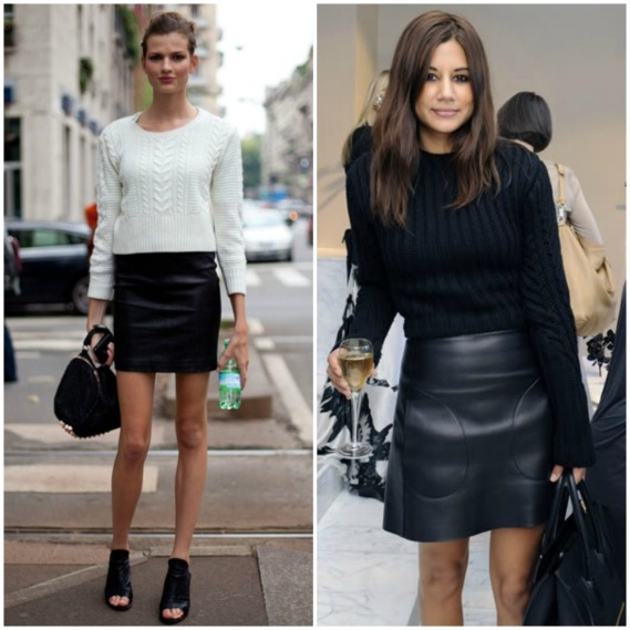 fall 2014 trends - black leather mini skirt outfit street style look fashion - thick chunky knit jumper sweater