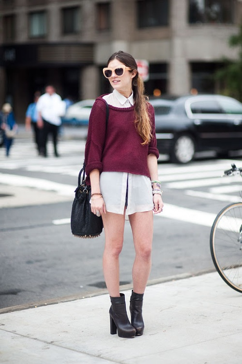 Sweater - Maroon - Cropped - Knitted - White Collared Shirt - Brown Ankle Boots
