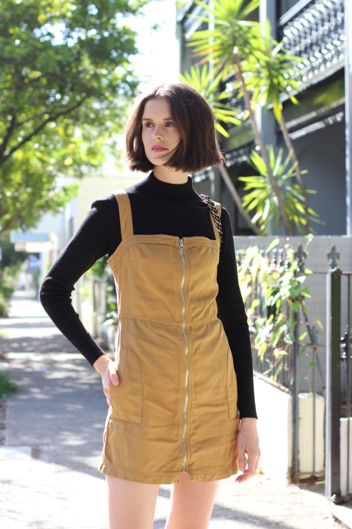 BY-CHILL-BLOG-Chloe-Hill-wears-topshop-khaki-utility-dress-and-cue-clothing-black-skivvy-knit-top-on-the-streets-of-Sydney