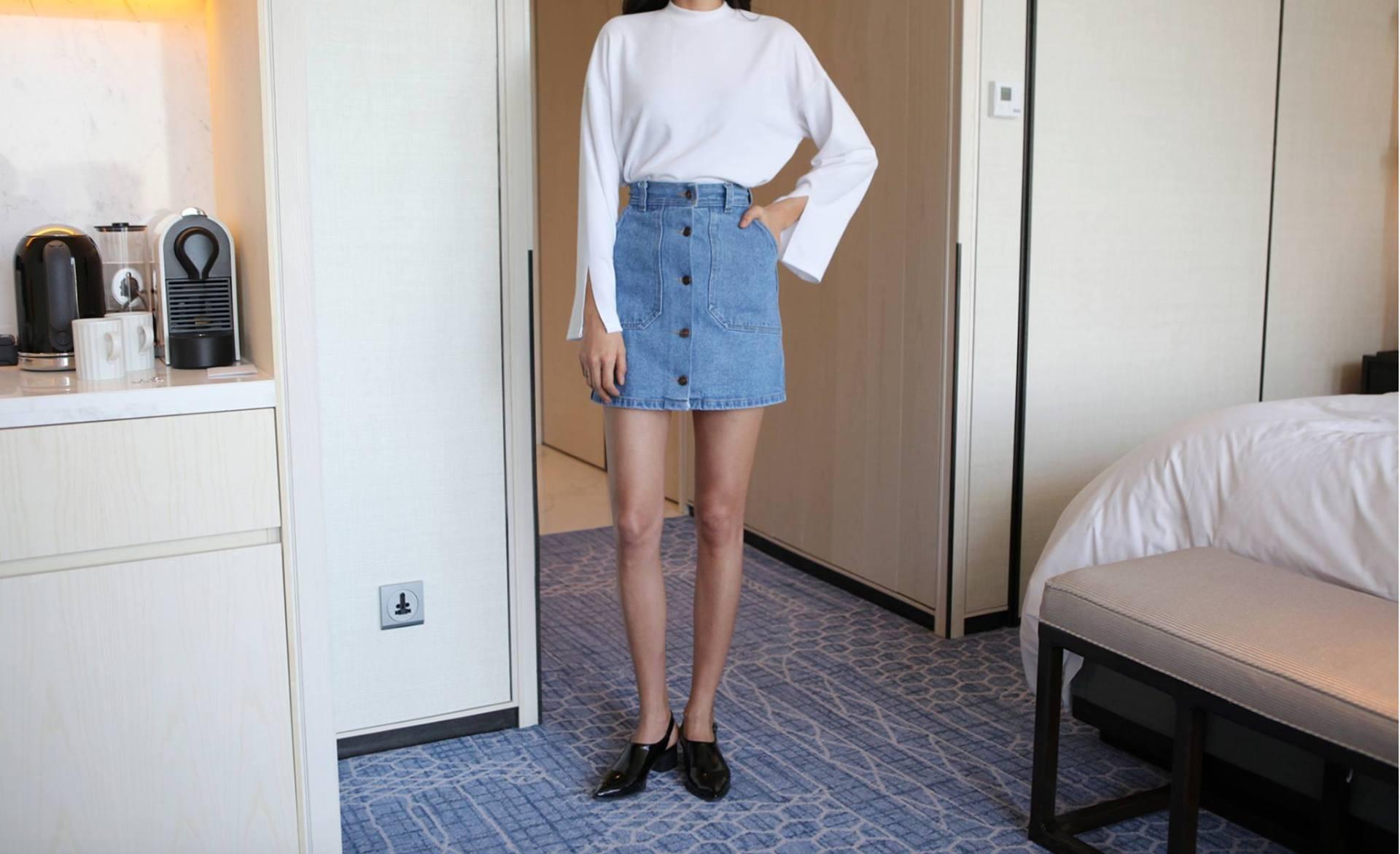 中高腰牛仔短裙