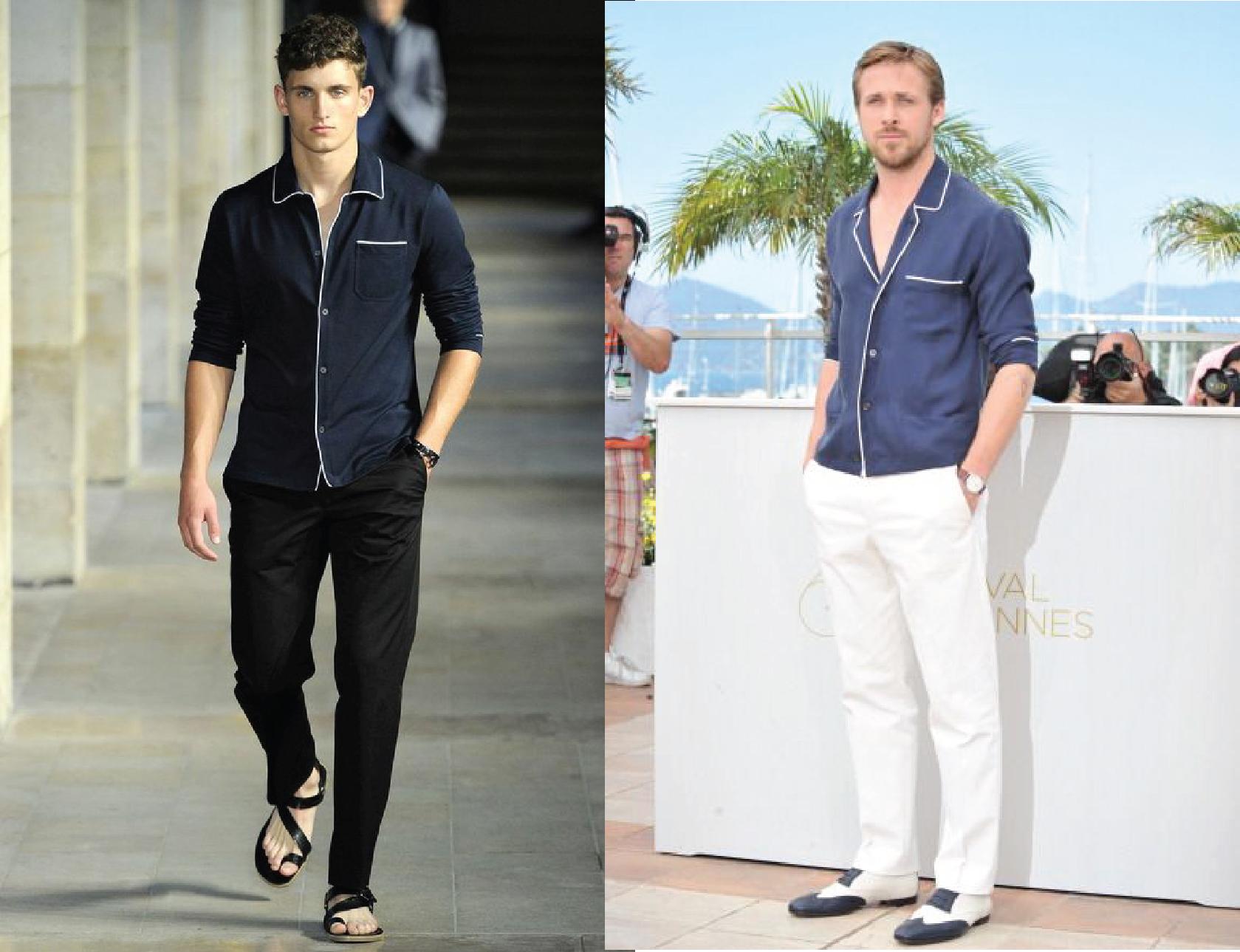 不只女生,男生也很流行穿睡衣襯衫上大街