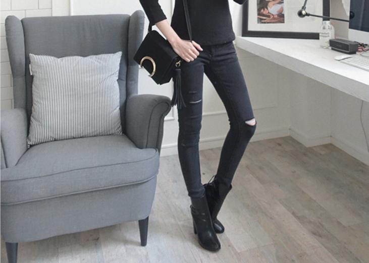 【WHAT O LOVE 熱銷款】黑色激瘦修身skinny牛仔褲